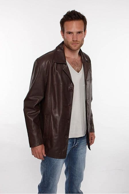Mens Reefer Leather Jacket in Brown
